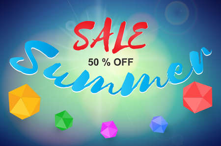 Summer sale background with colorful paper box. Vector background for banner,poster,flyer,cover, brochure.