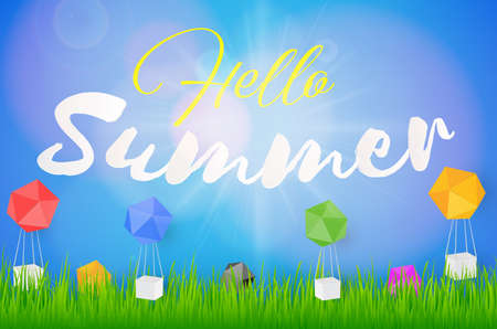 Hello Summer Holiday background with colorful balloon paper box. Vector background Illustration
