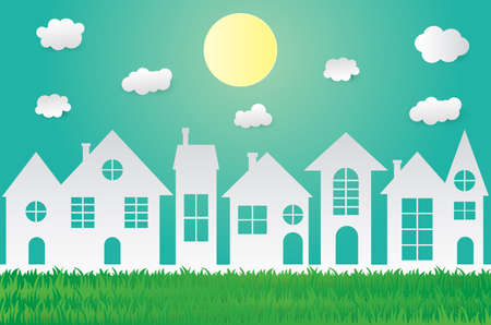 Green eco paper art design style,house with nature, ecology idea.vector illustration
