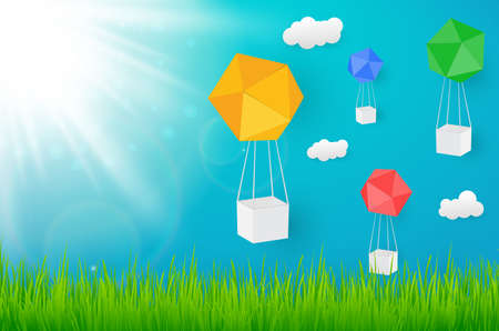 Vector natural blue background with paper box balloon and sun , grass. vector illustration