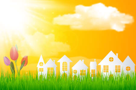 folwer: Paper art design style,house with grass, sun ,tulip folwer, nature ecology idea.vector illustration