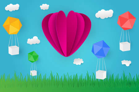 Paper art design style,ballon cloud grass with nature, ecology idea.vector illustration