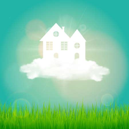 Paper art design style,house with grass, sun, cloud,  nature ecology idea.vector illustration