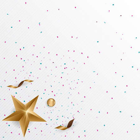 Gold star and gold ribbons with confetti on white background. Vector illustration