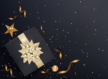 Black gift box and gold bow ribbons with confetti on dark texture background. Vector illustration