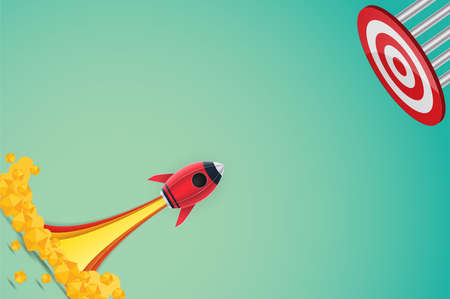 Concept rocket launch to target paper art style , start up business concept and exploration idea. vector illustration.