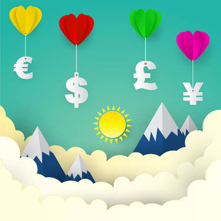 Heart balloon with US Dollar, Euro, Great Britain Pound, Japanese Yen , paper art style ,business concept and idea. vector illustration.