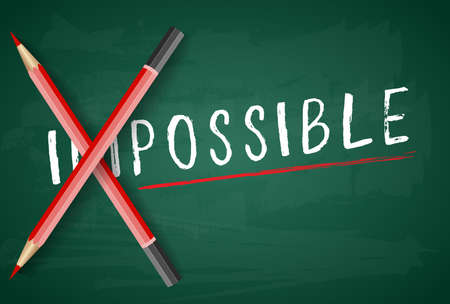 Changing the word impossible to possible with a pencil on board . vector illustration. Illustration