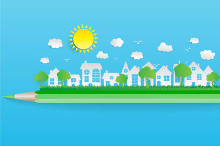 Ecology paper art concept on pencil eco friendly and save the earth with grass. vector illustration. Illustration