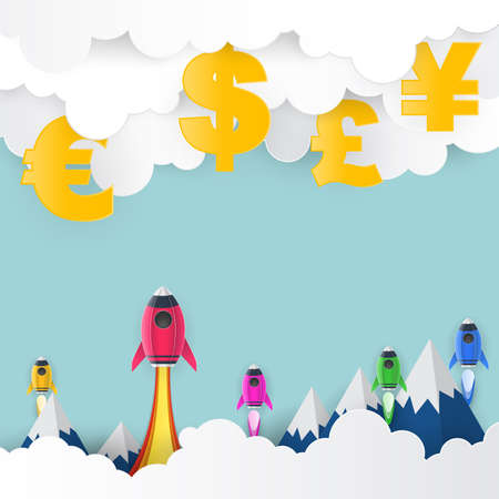 Rocket launch to US Dollar, Euro, Great Britain Pound, Japanese Yen, paper art style, business concept, and idea. vector illustration.