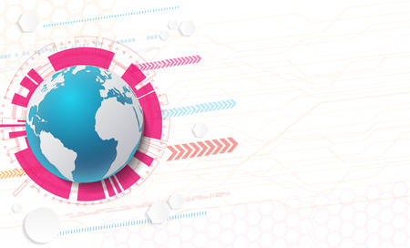 Abstract technology background and global network concept with various technological elements.Vector illustration Illustration