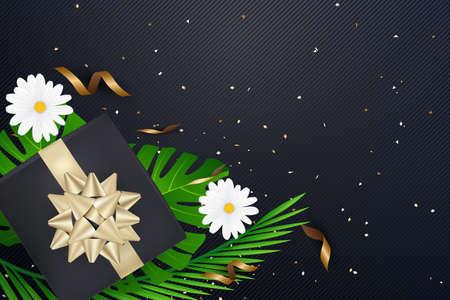 Creative natural layout tropical flowers and green leaves with gifl boox bow confetti on background texture.Nature concept .Vector illustration Illustration