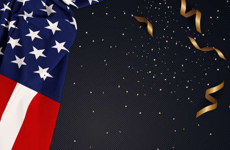 American flag on gold confetti bow celebrate background Stock Photo