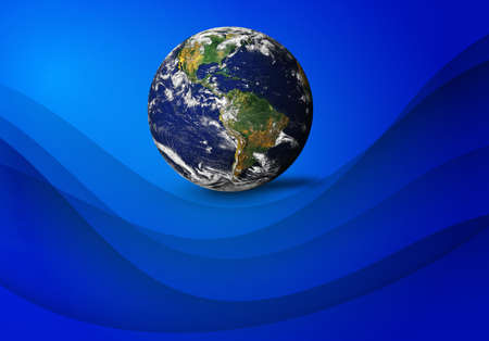 Earth Planet Isolated on curve blue background. Elements of this image furnished .
