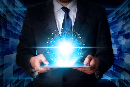 Technology abstract and tablet in the hands of businessmen. Technology concepts