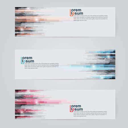 website header: A set of modern vector abstract design banner web template.