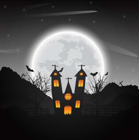 벌 거 벗은 나무, 박쥐 붙어 따라 다녀 진된 집 및 어두운 배경에 보름달을 할로윈 밤 배경. 벡터 일러스트 레이 션.