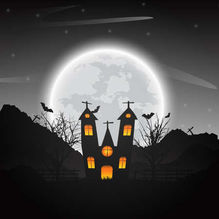 Halloween night background with naked trees, bat haunted house and full moon on dark background.Vector illustration. 向量圖像