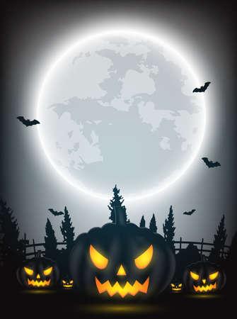 호박, 나무, 박쥐와 어두운 배경에 보름달을 할로윈 밤 디자인.