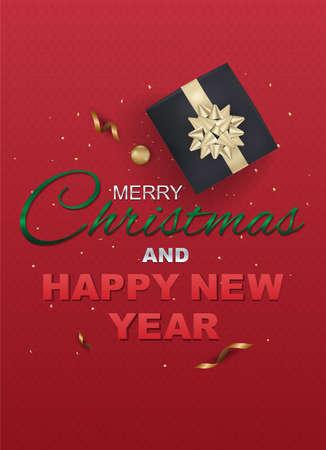 タイポグラフィとギフト ボックス クリスマス カード。