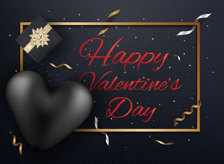 Happy Valentines day heart and gift with gold confetti on dark background. Vector illustrator  イラスト・ベクター素材