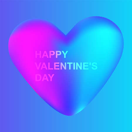 Happy Valentines day heart on blue background. Vector illustrator