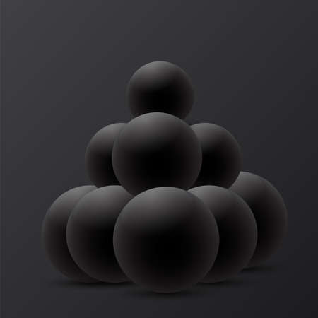 Abstract 3D Sphere design on black background. Vector Illustrator    イラスト・ベクター素材
