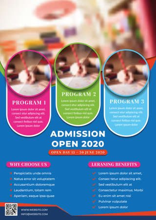 Education, Admission, Back To Shool Flyer Creative Design Template  イラスト・ベクター素材