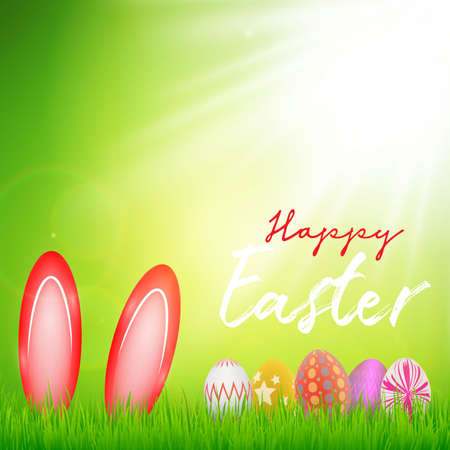 Happy Easter day celebration party. 3D egg with grass and sun with happy easter text in the spring season on a background. for banner, greeting card, social media advertising  Ilustração