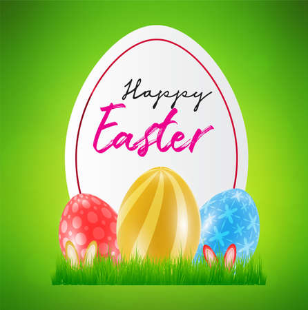 Happy Easter day celebration party. 3D egg with grass and happy easter text in the spring season on a background. for banner, greeting card, social media advertising