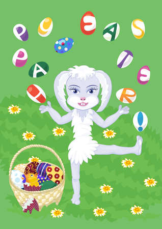 Easter bunny-girl is standing on one leg and juggling with eggs, the letters on which are forming Happy Easter! congratulation. A basket full of colorful eggs and a she-chick has just hatched out.