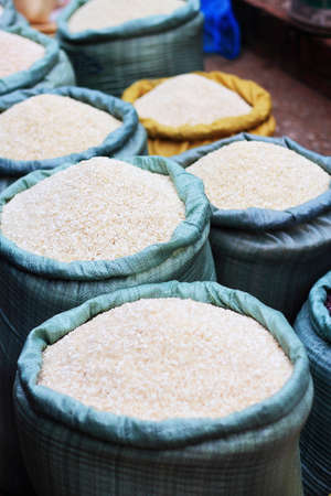 Sacks of rice photo