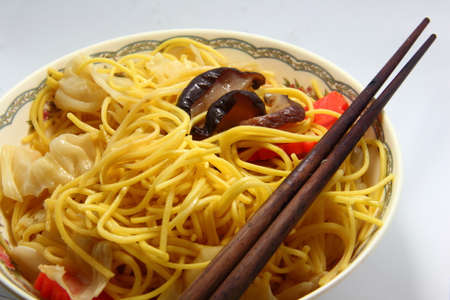 Chinese white noodle close up photo