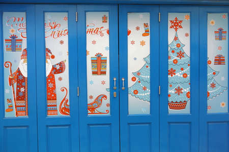 chrismast door blue photo