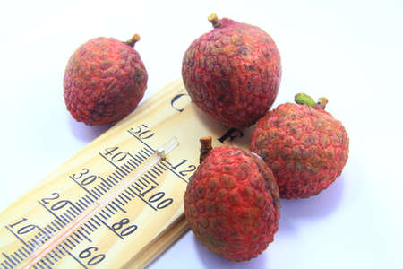 red lychee with thermometer photo