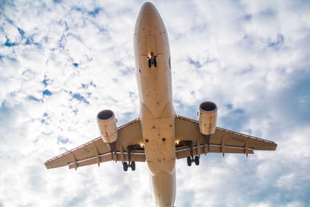 passenger plane taking over airport runway use for air transport and traveling