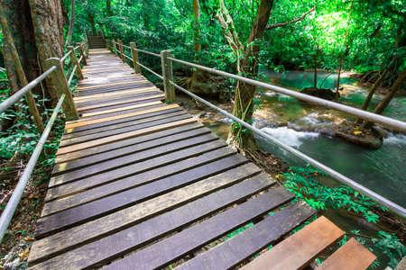 a bridge Waterfall in the national park, Phuket Thailand