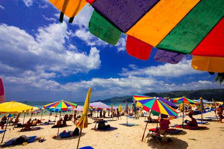 Under Beach Umbrella view ,Phuket Thailand