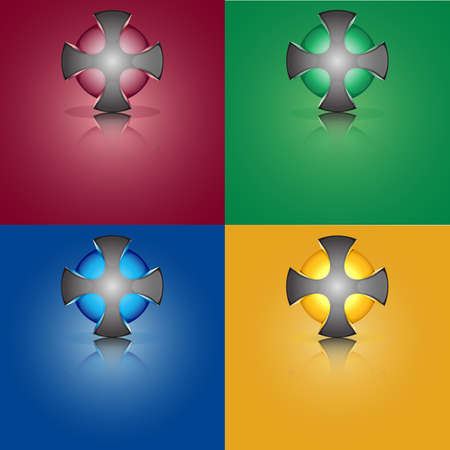sphere cross trimmed with colored sphere inside Vector