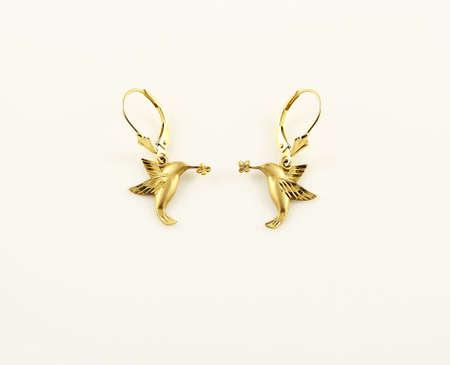14k: Gold Hummingbird Earring