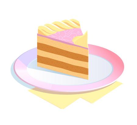 gateau: Un pezzo di torta su un piatto Vettoriali