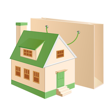 A house model near a shopping bag Illustration