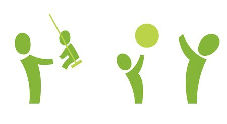A set of two pictograms showing an adult playing with a child Stock Photo