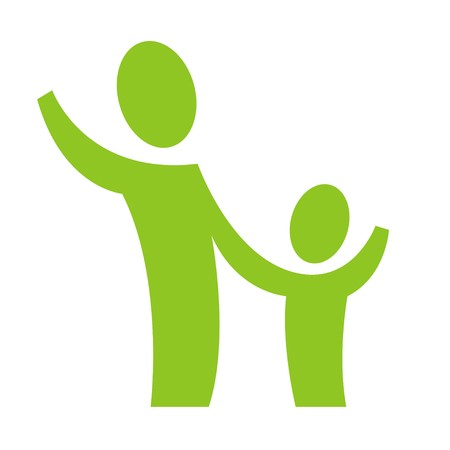 A pictogram with an adult and a child