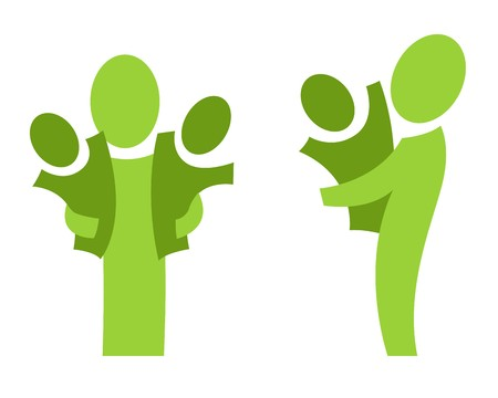 A set of two pictograms with adults and children Stock Photo