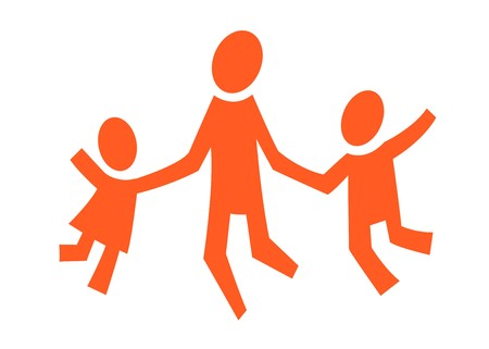 A pictogram with an agult and two children