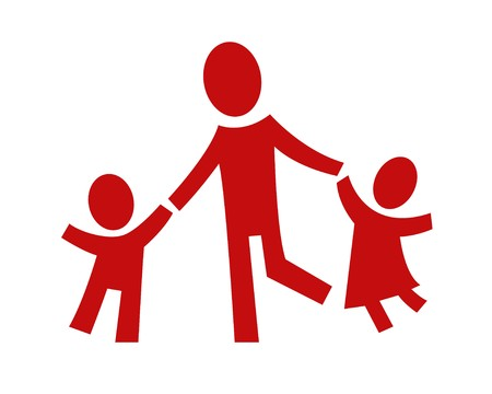 play icon: A pictogram showing an adult with two children