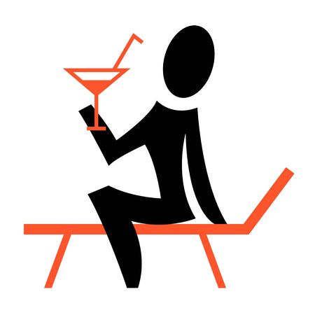 A pictogram showing a woman sitting on a beach chair Stock Photo - 7920257