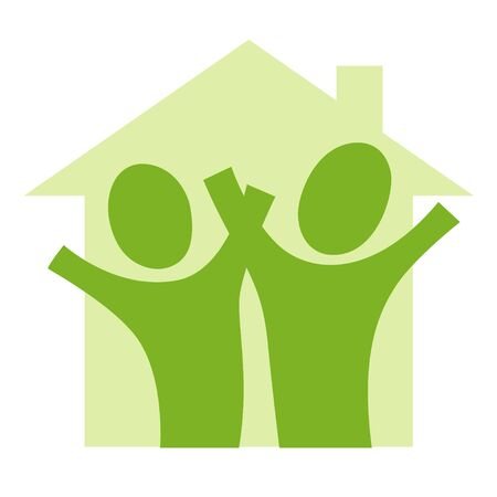 A pictogram with a couple in a house Stock Photo