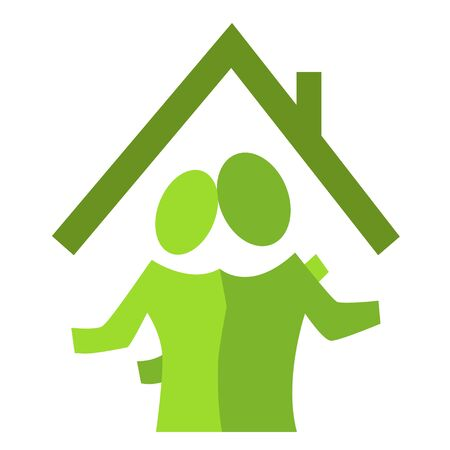 A pictographic image of a couple in a new house